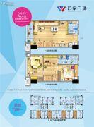 福州万家广场3室2厅2卫48平方米户型图