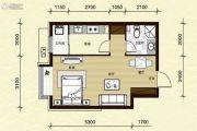 第一城1室2厅1卫45平方米户型图