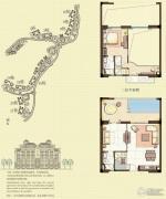 观澜湖观邸1室2厅2卫100平方米户型图
