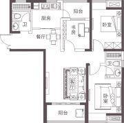 堰湾长堤3室1厅1卫92平方米户型图