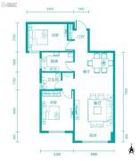 新河湾2室2厅1卫91平方米户型图