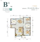 天房�Z悦府2室2厅1卫0平方米户型图