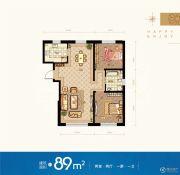 领秀蓝珀湖2室2厅1卫89平方米户型图