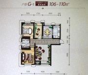 大庆国际金融中心3室2厅1卫106--110平方米户型图