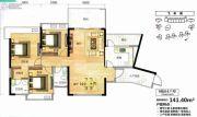 飞来湖一号3室2厅2卫141平方米户型图