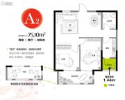 香缇熙岸2室2厅1卫75平方米户型图