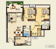 云山峰境花园3室2厅2卫90平方米户型图