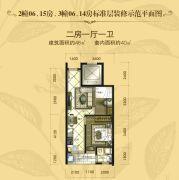 安康・金海湾2室1厅1卫48平方米户型图