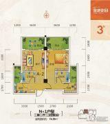 金港花园2室2厅2卫74平方米户型图