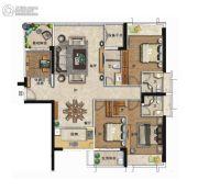 海�Z天翡4室2厅3卫148平方米户型图