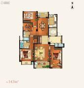 颐和湾花园3室2厅2卫143平方米户型图