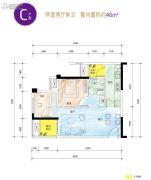 龙湖佰乐街2室2厅1卫46平方米户型图