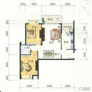 东方明都2室2厅1卫89平方米户型图