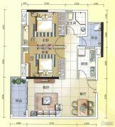元邦明月水岸2室2厅1卫84平方米户型图