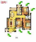 中锐星尚城3室2厅1卫103平方米户型图