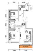 千翔尚城2室2厅1卫103平方米户型图