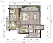 新城朗隽大都会3室2厅2卫91--112平方米户型图