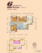 时代家园2室2厅2卫92平方米户型图