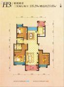 丽彩・溪悦城3室2厅2卫135平方米户型图