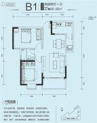 印力中心2室2厅1卫90平方米户型图