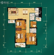 中建宜城春晓3室2厅2卫103平方米户型图