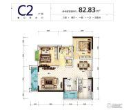 筑友・双河湾3室2厅1卫82平方米户型图