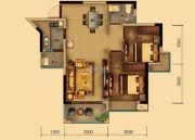 汇乔金色名都2室2厅1卫71平方米户型图