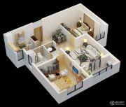 朗诗�园2室2厅1卫85平方米户型图