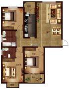 帕堤欧3室2厅2卫139平方米户型图