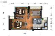 蓝光金悦派2室2厅1卫60平方米户型图