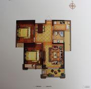 禹洲翡翠湖郡2室2厅1卫86平方米户型图