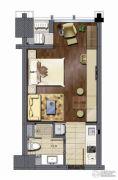 世纪晶钻1室1厅1卫44平方米户型图