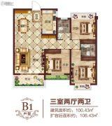 华廷四季城3室2厅2卫100平方米户型图