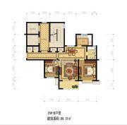 靖宸白鹭湾2室2厅1卫86平方米户型图