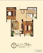 嘉泰城市花园2室2厅1卫75平方米户型图