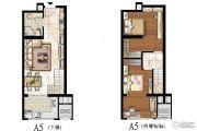 太原嘉地中心2室2厅1卫48平方米户型图