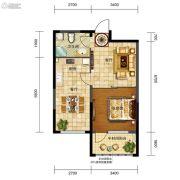 五矿・弘园1室2厅1卫63平方米户型图