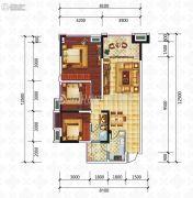 滨江国际3室2厅1卫90平方米户型图