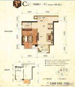 鼎华・福邸1室2厅1卫64平方米户型图