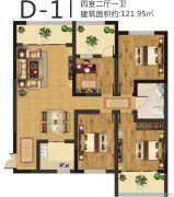美伦山水华府4室2厅1卫121平方米户型图