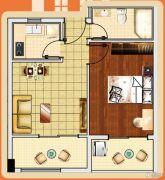 新城市宜家1室2厅1卫53平方米户型图