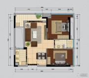 南沙城二期2室2厅1卫80平方米户型图