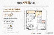 珠江国际商务港1室1厅0卫48平方米户型图