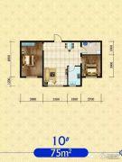 建发・观澜丽景2室2厅1卫75平方米户型图