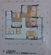 长虹东城时代3室2厅2卫101平方米户型图