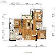金科中建博翠长江3室2厅2卫80平方米户型图
