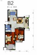 云澜湾2室2厅1卫68平方米户型图