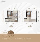 新城�Z城3室2厅1卫107平方米户型图