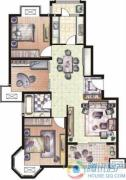 天和湖滨3室2厅1卫108平方米户型图