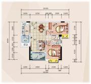 �R豪领逸2室2厅1卫77平方米户型图